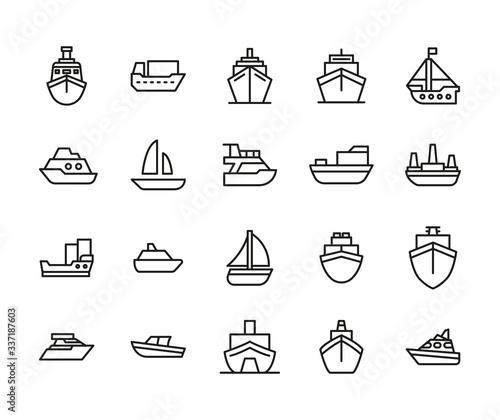 Leinwand Poster Ship line icons set.