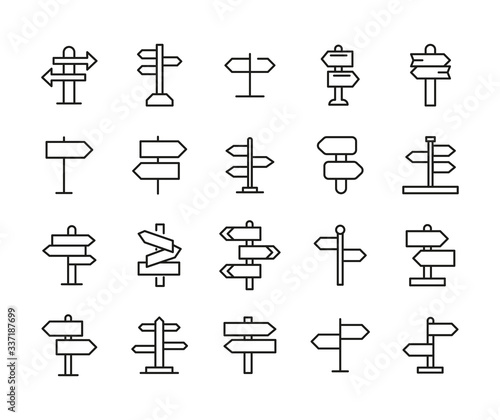 Simple set of sign post icons in trendy line style. Canvas Print