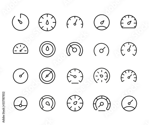 Fotografía Stroke line icons set of speedometer.