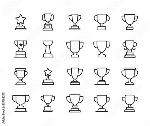 Fototapeta Simple set of trophy icons in trendy line style.