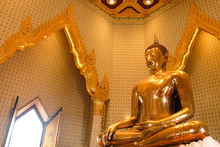 Golden Buddha Statue In Temple...