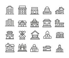 Big Set Of Building Line Icons.