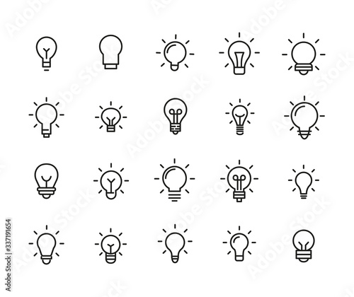 Obraz Simple set of bulb icons in trendy line style. - fototapety do salonu