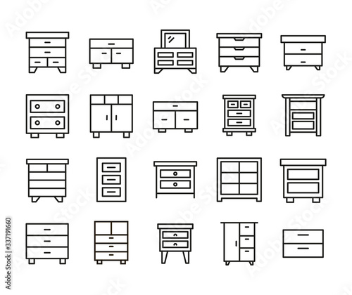 Fototapeta Big set of cabinet line icons.