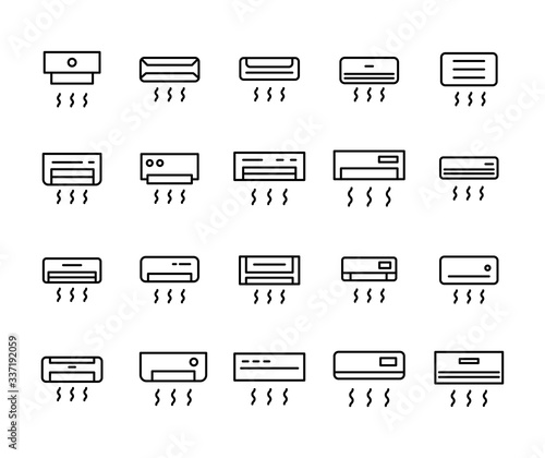 Vector line icons collection of conditioner. Canvas Print