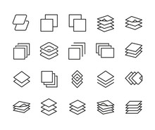 Layers Line Icons Set.