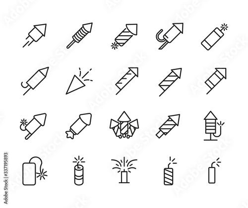 Simple set of petard icons in trendy line style. Fototapeta