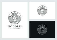 Goddess Logo Design In Line Ar...