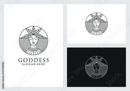 goddess logo design in line art style Poster Mural XXL