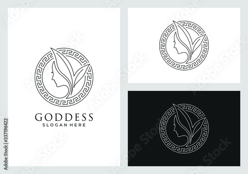 Fototapeta goddess logo design in line art style