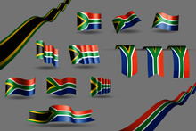 Many South Africa Flags, Waving Banners And Bookmarks In The Colors Of The Flag Blue, Red, Green, Gold Vector Illustration For Anthem, Flag Day Or Any National Celebration