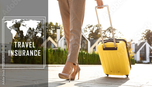 Young woman with yellow suitcase outdoors. Travel insurance Canvas Print