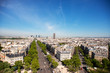 Paris Skyline. La Defense Business Area, La Grande Armee avenue.