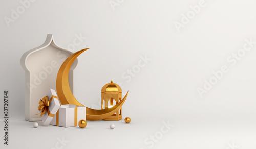 Photo Islamic background, Gift box, lantern, gold crescent moon on white
