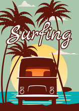 Surfer Retro Bus, Van, Camper With Surfboard On The Tropical Beach. Poster Surfing Surfing Palm Trees And Ocean