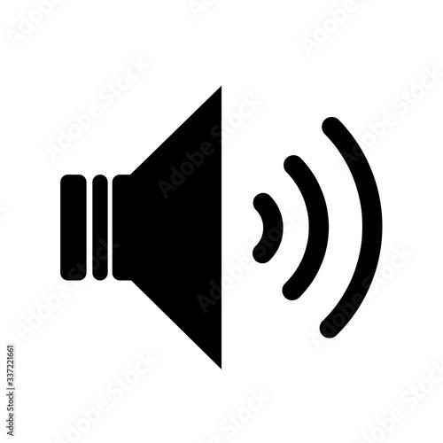 Black audio speaker volume or music speaker volume on line art icon isolated on white backgeound for apps and websites Obraz na płótnie