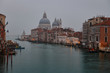 View of the Grand Canal and the Basilica Santa Maria della Salute on morning fog