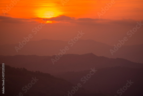 Fototapety, obrazy: Scenic View Of Silhouette Mountains Against Dramatic Sky During Sunset