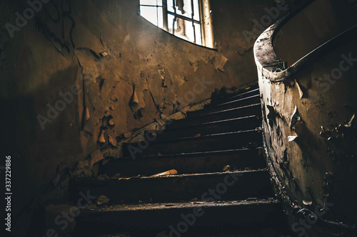 Close-up Of Stairs In Abandoned House Fototapet
