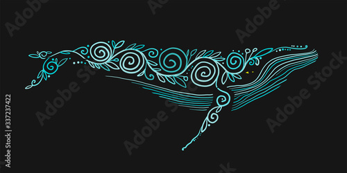 Fototapeta Wild Whale with Ethnic Ornaments