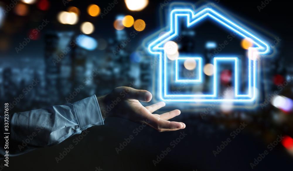 Fototapeta Man hand using real estate digital neon interface 3D rendering