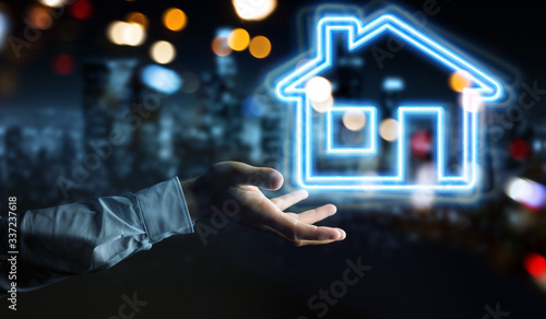 Obraz Man hand using real estate digital neon interface 3D rendering - fototapety do salonu