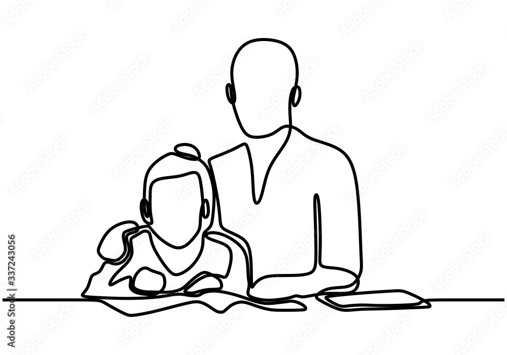 Fototapeta Father and daughter one line drawing, continuous hand drawn minimalism. Fathers day concept banner with contour line art minimalist design, vector illustration with simplicity style.