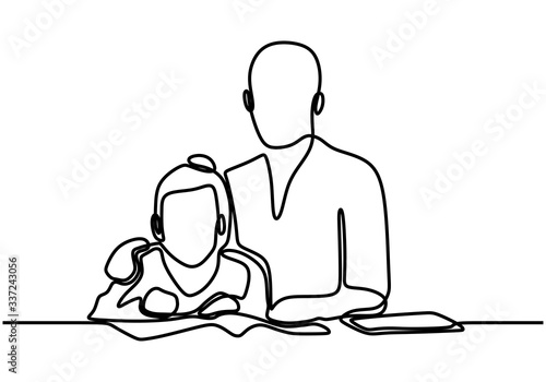 Obraz na plátně Father and daughter one line drawing, continuous hand drawn minimalism