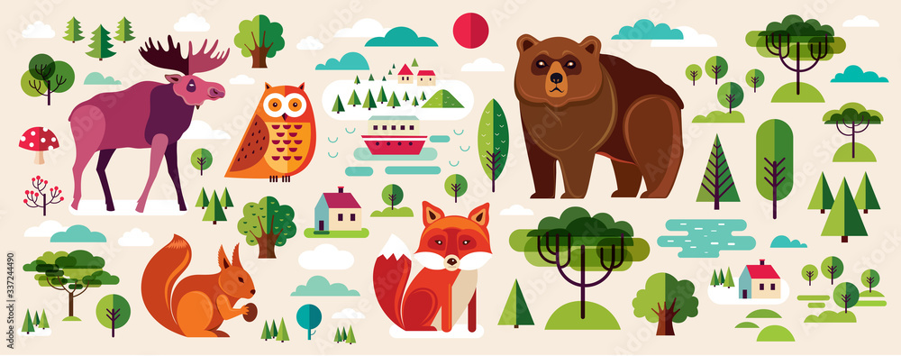 Fototapeta Collection of wild animals and trees in flat style. Group of animals wildlife