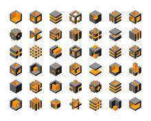 Cube Logo Vector Design.  Cubes 3d Set Template Graphic Elements.