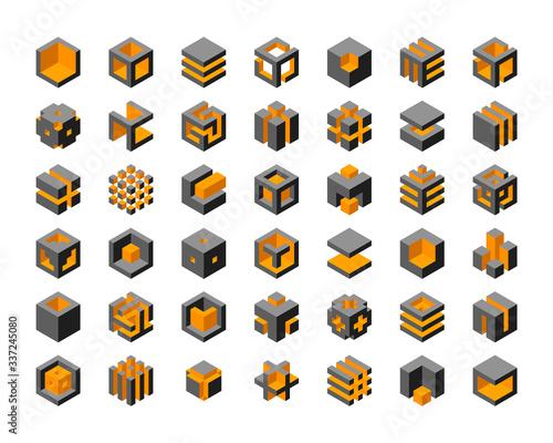 Canvas Print Cube logo vector design.  Cubes 3d set template graphic elements.