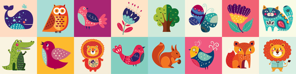 Colorful collection of funny baby animals owl, cat, bird, crocodile, lion, fox
