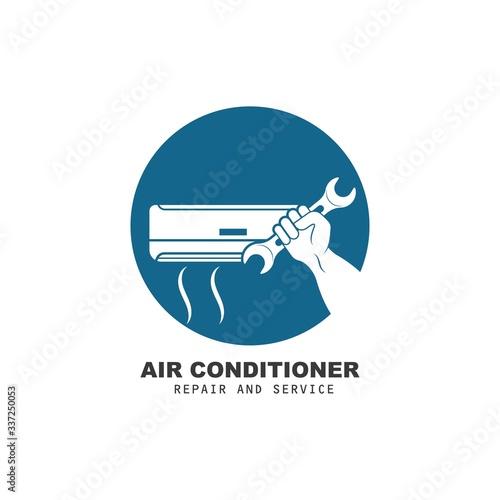 Photo airconditioner repair and service vector icon illustration design