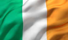 Flag Of Ireland Blowing In The...