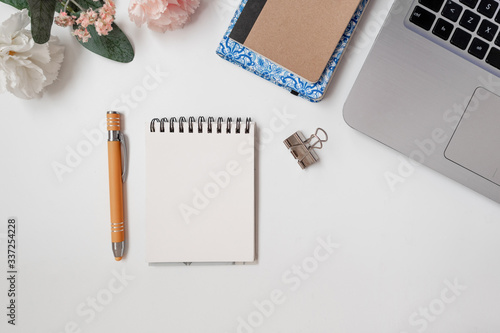 Fototapeta Notebooks, pen and laptop. Workspace of an entrepreneur, flat lay. Top view obraz na płótnie