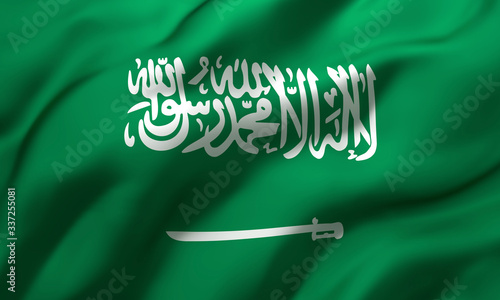 Photo Flag of Saudi Arabia blowing in the wind