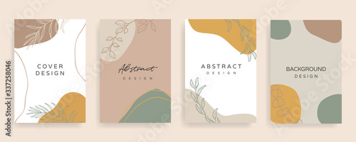 Fototapety, obrazy: Social media banner template. Editable mockup for stories, post, blog, sale and  promotion. Abstract earth tone coloured shapes, line arts background design for personal, fashion and beauty blogger.