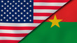The flags of United States and Burkina Faso. News, reportage, business background. 3d illustration