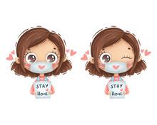 Cute Cartoon Girl With Brown H...