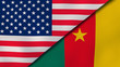 The flags of United States and Cameroon. News, reportage, business background. 3d illustration