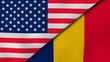 The flags of United States and Chad. News, reportage, business background. 3d illustration