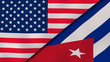 The flags of United States and Cuba. News, reportage, business background. 3d illustration