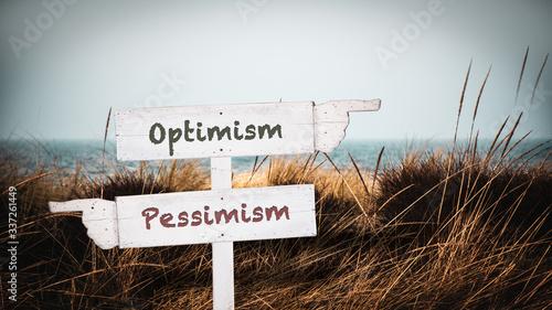 Stampa su Tela Street Sign Optimism versus Pessimism