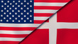 The flags of United States and Denmark. News, reportage, business background. 3d illustration