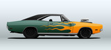 Racing muscle car in vector with flames on body.
