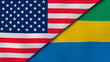 The flags of United States and Gabon. News, reportage, business background. 3d illustration