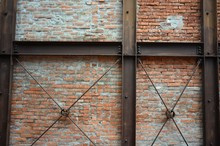 Old Brick Wall With Steel Beam Structure