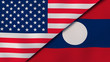 The flags of United States and Laos. News, reportage, business background. 3d illustration