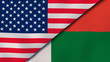 The flags of United States and Madagascar. News, reportage, business background. 3d illustration