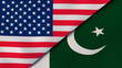 The flags of United States and Pakistan. News, reportage, business background. 3d illustration